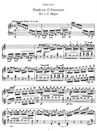 Thumbnail of first page of Etudes en 12 exercices, S.136 piano sheet music PDF by Liszt.
