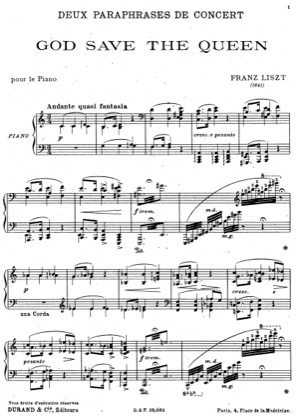 Thumbnail of first page of God Save the Queen, S.235 piano sheet music PDF by Liszt.