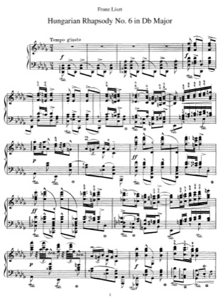 Thumbnail of first page of Hungarian Rhapsody No.6, S.244/6 piano sheet music PDF by Liszt.