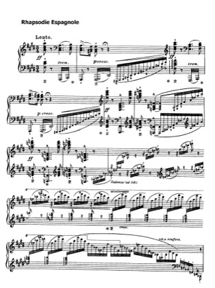 Thumbnail of first page of Rhapsodie Espagnole, S.254 piano sheet music PDF by Liszt.