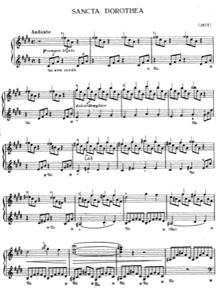 Thumbnail of first page of Sancta Dorothea, S.187 piano sheet music PDF by Liszt.
