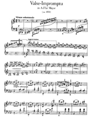 Thumbnail of first page of Valse-Impromptu, S.213 piano sheet music PDF by Liszt.