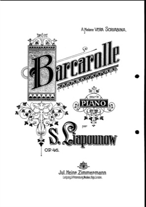 Thumbnail of first page of Barcarolle, Op.46 piano sheet music PDF by Lyapunov.