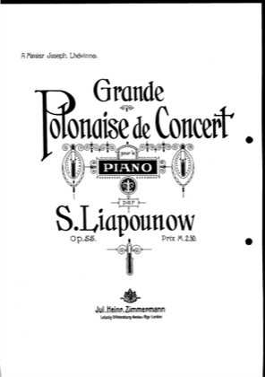 Thumbnail of first page of Grande polonaise de concert, Op.55 piano sheet music PDF by Lyapunov.