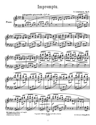 Thumbnail of first page of Impromptu, Op.5 piano sheet music PDF by Lyapunov.