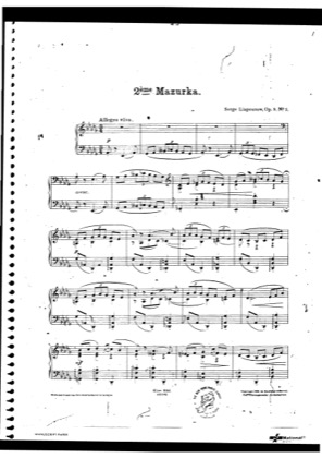 Thumbnail of first page of Mazurka No.2, Op.9 piano sheet music PDF by Lyapunov.