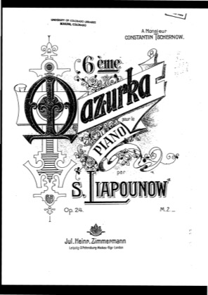 Thumbnail of first page of Mazurka No.6, Op.24 piano sheet music PDF by Lyapunov.