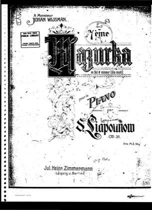 Thumbnail of first page of Mazurka No.7, Op.31 piano sheet music PDF by Lyapunov.