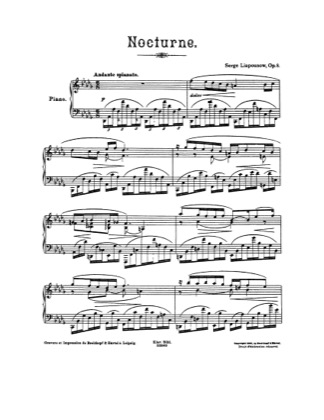 Thumbnail of first page of Nocturne, Op.8 piano sheet music PDF by Lyapunov.