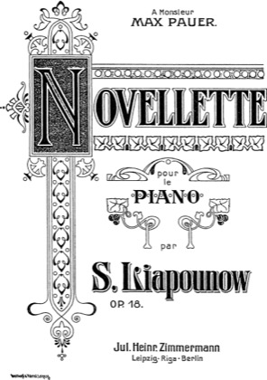 Thumbnail of first page of Novellette, Op.18 piano sheet music PDF by Lyapunov.