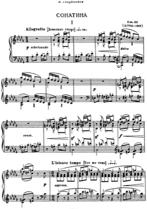 Thumbnail of first page of Sonatina, Op.65 piano sheet music PDF by Lyapunov.