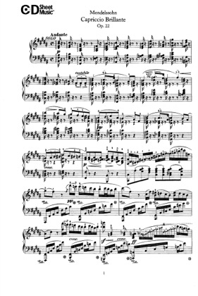 Thumbnail of first page of Capriccio Brillant, Op.22 piano sheet music PDF by Mendelssohn.