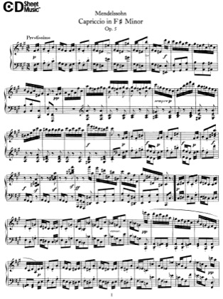 Thumbnail of first page of Capriccio, Op.5 piano sheet music PDF by Mendelssohn.