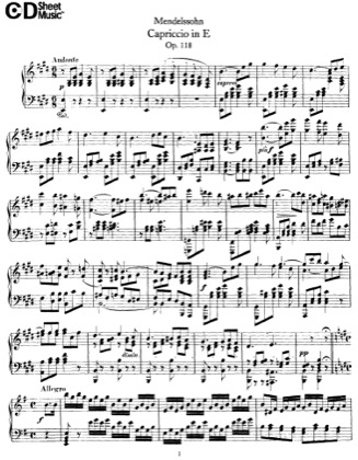 Thumbnail of first page of Capriccio, Op.118 piano sheet music PDF by Mendelssohn.