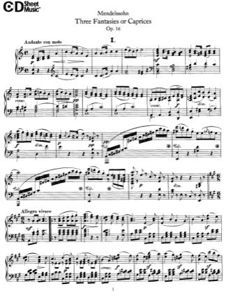 Thumbnail of first page of 3 Caprices, Op.16 piano sheet music PDF by Mendelssohn.