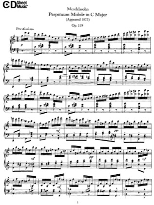 Thumbnail of first page of Perpetuum Mobile, Op.119 piano sheet music PDF by Mendelssohn.