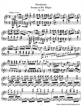 Thumbnail of first page of Sonata No.3 in Bb Major, Op.106 piano sheet music PDF by Mendelssohn.