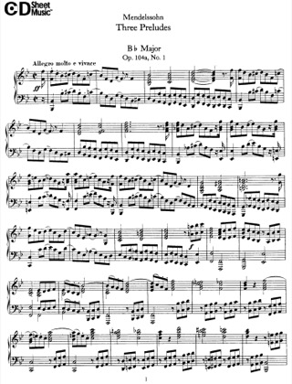 Thumbnail of first page of 3 Preludes, Op.104a piano sheet music PDF by Mendelssohn.