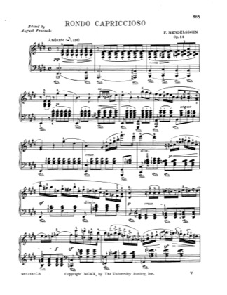 Thumbnail of first page of Rondo capriccioso Op.14 piano sheet music PDF by Mendelssohn.