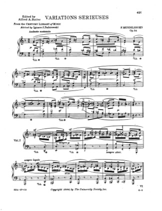 Thumbnail of first page of Variations Serieuses Op.54 piano sheet music PDF by Mendelssohn.