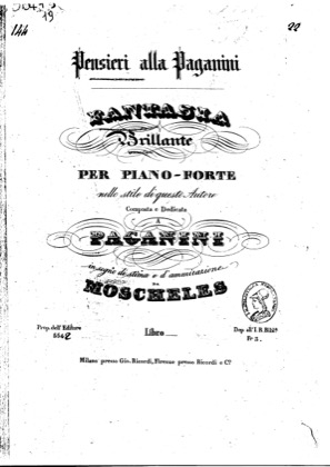 Thumbnail of first page of Fantaisie a la Paganini piano sheet music PDF by Moscheles.