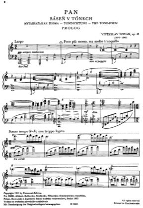 Thumbnail of first page of Pan, Op.43 piano sheet music PDF by Novak.