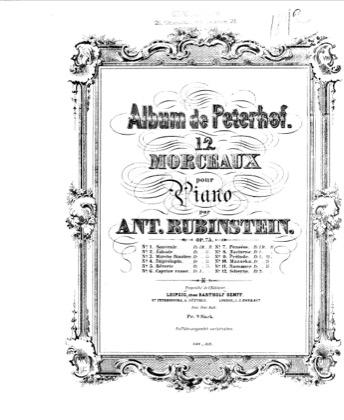 Thumbnail of first page of Album de Peterhof, Op.75 piano sheet music PDF by Rubinstein.