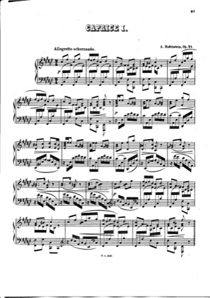 Thumbnail of first page of 3 Caprices, Op.21 piano sheet music PDF by Rubinstein.