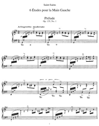 Thumbnail of first page of 6 Etudes for the Left Hand, Op.135 piano sheet music PDF by Saint-Saens.