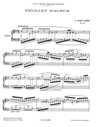 Thumbnail of first page of Feuillet d'Album, Op.169 piano sheet music PDF by Saint-Saens.