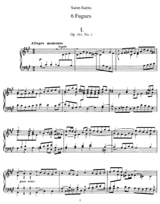 Thumbnail of first page of 6 Fugues, Op.161 piano sheet music PDF by Saint-Saens.
