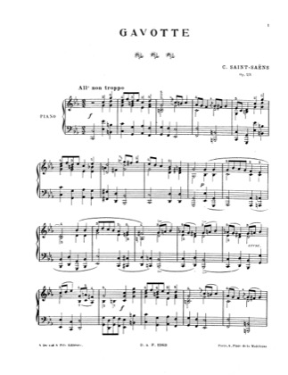 Thumbnail of first page of Gavotte, Op.23 piano sheet music PDF by Saint-Saens.