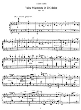 Thumbnail of first page of Valse Mignonne, Op.104 piano sheet music PDF by Saint-Saens.