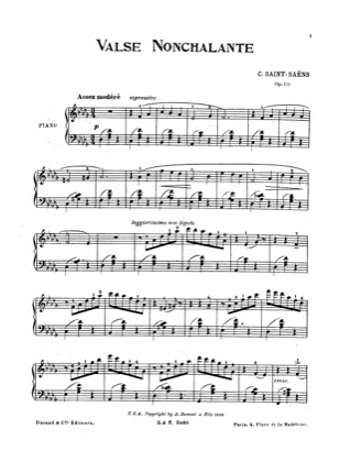 Thumbnail of first page of Valse Nonchalante, Op.110 piano sheet music PDF by Saint-Saens.