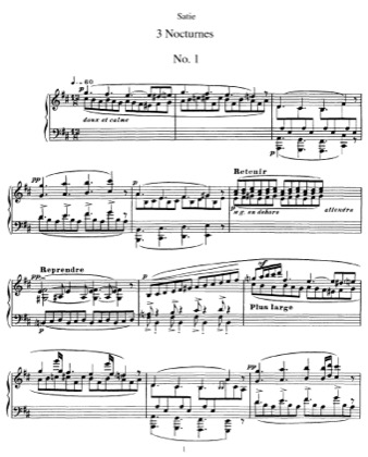 Thumbnail of first page of 3 Nocturnes piano sheet music PDF by Satie.