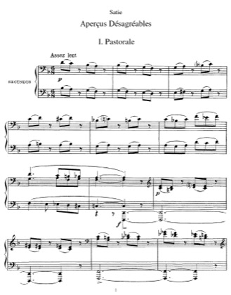 Thumbnail of first page of Apercus desagreables piano sheet music PDF by Satie.