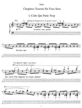 Thumbnail of first page of Chapitres tournes en tous sens piano sheet music PDF by Satie.