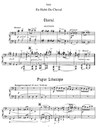 Thumbnail of first page of En habit de cheval piano sheet music PDF by Satie.