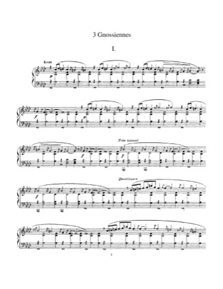 Thumbnail of first page of Three Gnossiennes piano sheet music PDF by Satie.