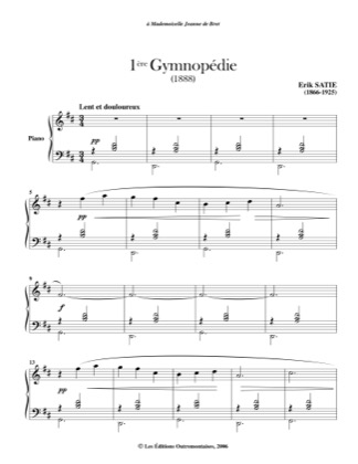 Thumbnail of first page of Gymnopedies piano sheet music PDF by Satie.