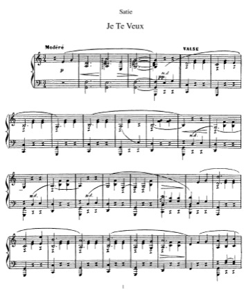 Thumbnail of first page of Je te veux piano sheet music PDF by Satie.