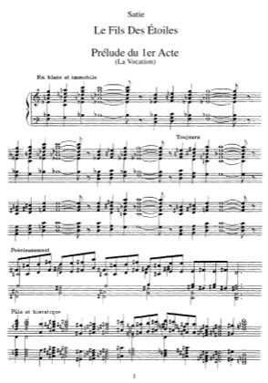Thumbnail of first page of Le fils des etoiles piano sheet music PDF by Satie.