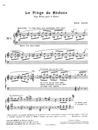 Thumbnail of first page of Le piege de Meduse piano sheet music PDF by Satie.