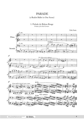 Thumbnail of first page of Parade piano sheet music PDF by Satie.