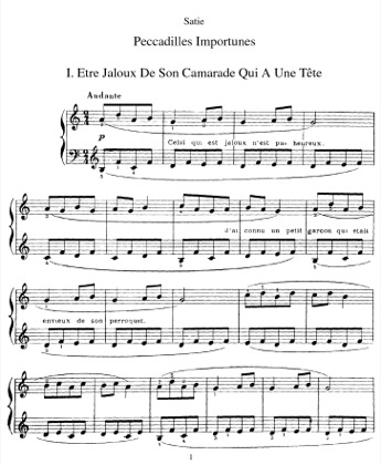 Thumbnail of first page of Peccadilles importunes: Etre jaloux de son camarade qui a une grosse tête piano sheet music PDF by Satie.