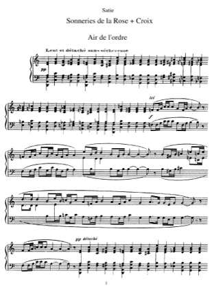 Thumbnail of first page of Sonneries de la rose croix piano sheet music PDF by Satie.