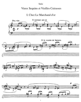 Thumbnail of first page of Vieux sequins et vieilles cuirasses piano sheet music PDF by Satie.