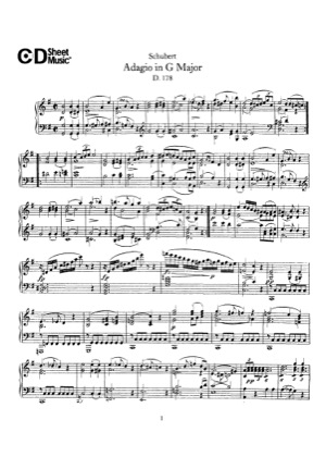 Thumbnail of first page of Adagio, D.178 piano sheet music PDF by Schubert.