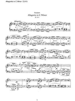 Thumbnail of first page of Allegretto in C minor, D.915 piano sheet music PDF by Schubert.