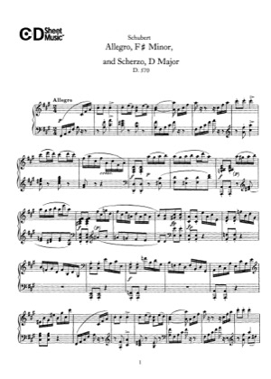 Thumbnail of first page of Allegro and Scherzo, D.570 piano sheet music PDF by Schubert.